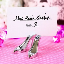 fairy tale wedding theme high heel shoe place card holder