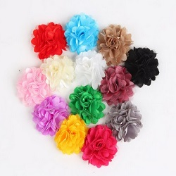 Satin Mesh Flowers Hair Clips