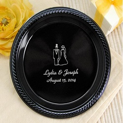 Personalized Black Wedding Plates