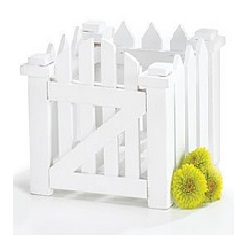 White Wood Picket Fence Planter