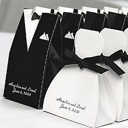 Tuxedo Wedding Gown Favor Boxes